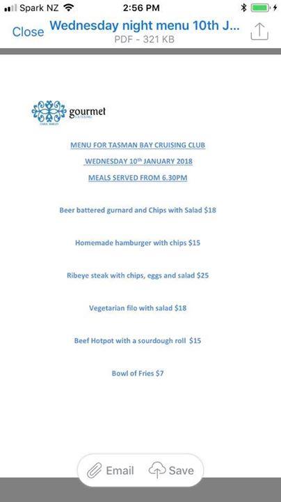 Tomorrow nights menu at the TBCC
