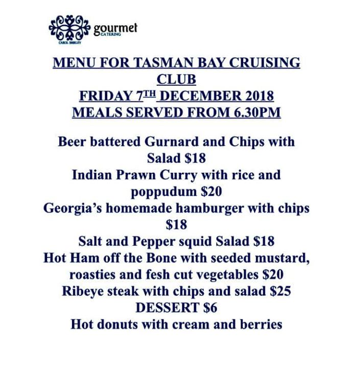 Tonight's menu at the TBCC