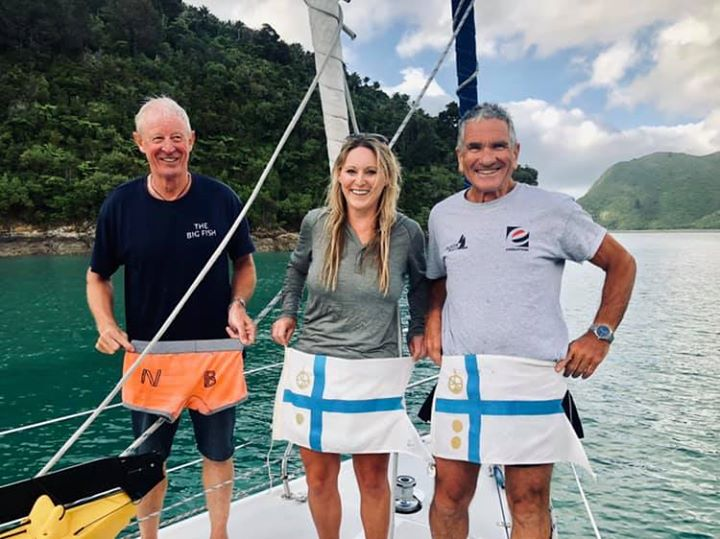 One of these are not like the others - someone  forgot their flag for the Tasman Bay Cruising Club Durville Island cruise.   Lucky he has such helpful fellow flag officers and an adoring wife to assist with the search for his under wear and the creation of his fill in flag .  And yes, we flew his flag